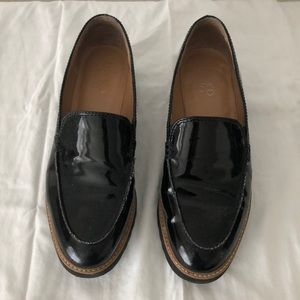Franco Sarto Loafers Black Faux Patent Leather.